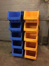 Large heavy duty storage boxes x10