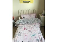 Kids White Extendable Bed, Toy Box/Seat and Bookcase For Sale