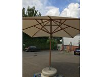 Commercial Parasole and Concrete Base 3.6m Sq Great Condition 2 available