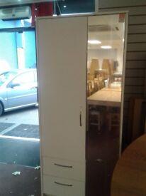 2 DOOR MIRRORED WHITE WARDROBE 3DRW