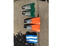 Swim flippers, bag & float size