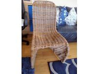 4 high back wicker dining chairs