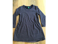 12-18 months baby girls clothes - Benetton jersey stripe dress navy lilac GUC