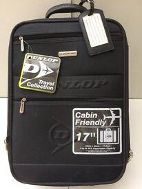 "NEW DUNLOP CABIN FRIENDLY 17"" EXPANDABLE TELESCOPIC HANDLE WHEELED FLIGHT BAG BNWT"