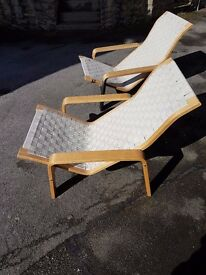 2 solid ikea chairs which recline slightly, good for upcycling