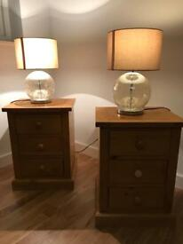 Bedside tables and lamps x 2