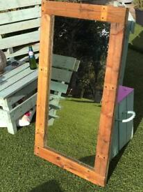 Stunning Reclaimed / Pallet Wood Mirror. Size 100 x 56cm. Varnished.