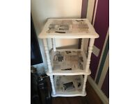 Shabby chic corner / side table decoupaged and painted