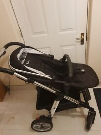 Pushchair with car seat, adapters and carry cot