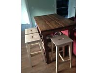 Rustic Kitchen Island/ breakfast bar and 4 stools