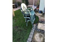 5 stacking garden green chairs