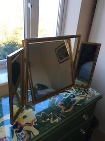 Mirror gold colour dressing table triple mirror