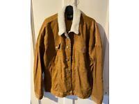 Oversized Brown Borg Collar Cord Jacket