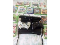 x box 360 with kinect and 17 games