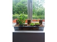 Wooden Handmade Decorative Pallet Planter with metal detailing and fake grass lining