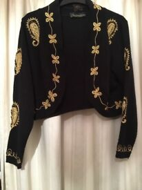 Gold threaded black cropped cardigan