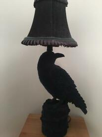 Navy Velour Raven Lamp