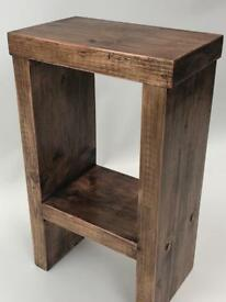 Handcrafted rustic side table in walnut wax