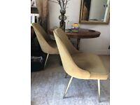 Two upholstered velvet dining chairs in gold velvet from West Elm