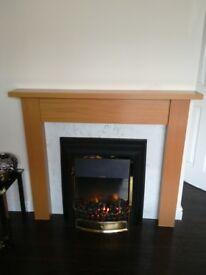 Dimplex fire with oak surround