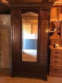 Edwardian inlaid mahogany wardrobe