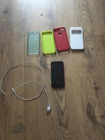 iPhone 6 with cases and charger