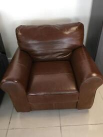 Brand New 100% Tan Leather Armchair
