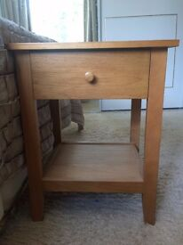 Oak effect high quality single drawer bedside table with a shelf underneath, £20