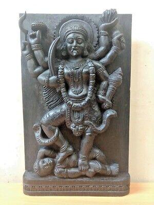 Hindu Durga Kali Devi Temple Vintage Wall Wooden Panel sculpture Statue Art Deco