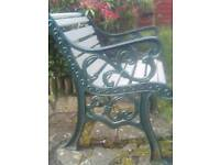 Cast iron & wood table & 2 armchairs
