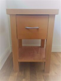 Bed Side Unit In Solid Beech Finish
