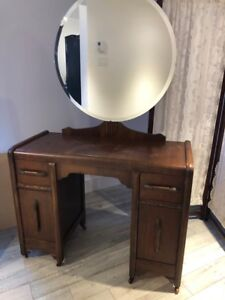 1940s Vanity with Mirror Antique
