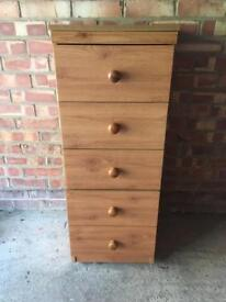 5 drawer light wood tall cabinet