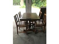 Lovely old extending dining table and chairs, ideal for furniture project