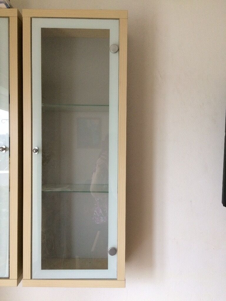 Ikea Magiker Wall Mounted Single Display Cabinet With Glass Door And
