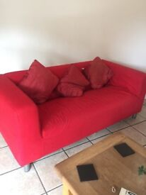 4 seater red changable cover ikea settee