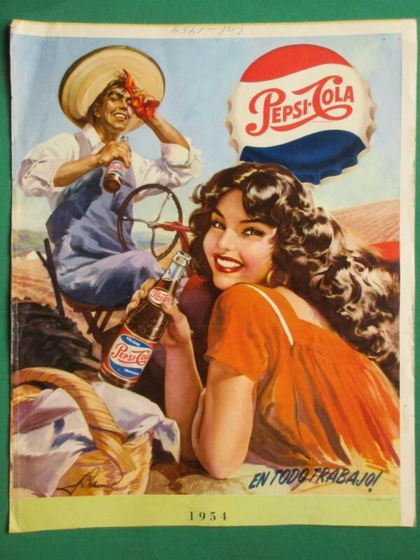 1950s PEPSI COLA SODA ADVERTISING PIN-UP FARM GIRL BEAUTIFUL ART MEXICAN  POSTER
