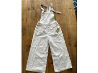 Denim Co. White Denim Primark Woman's Adjustable Dungarees Size 12