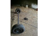 80 inch wide trailer axle with wheels