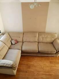 Large beige/brown corner sofa