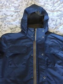 White Stuff Men's Navy Fleece-lined Winter Jacket - Large