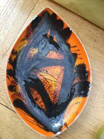 Original 1970 Delphis Poole pottery dish
