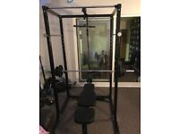 Squat rack and weights with bench and attachments