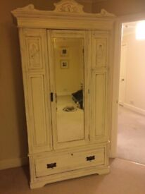 Shabby Chic Wardrobe with Mirror and Drawer
