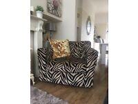 Gorgeous zebra print fabric swivel chair