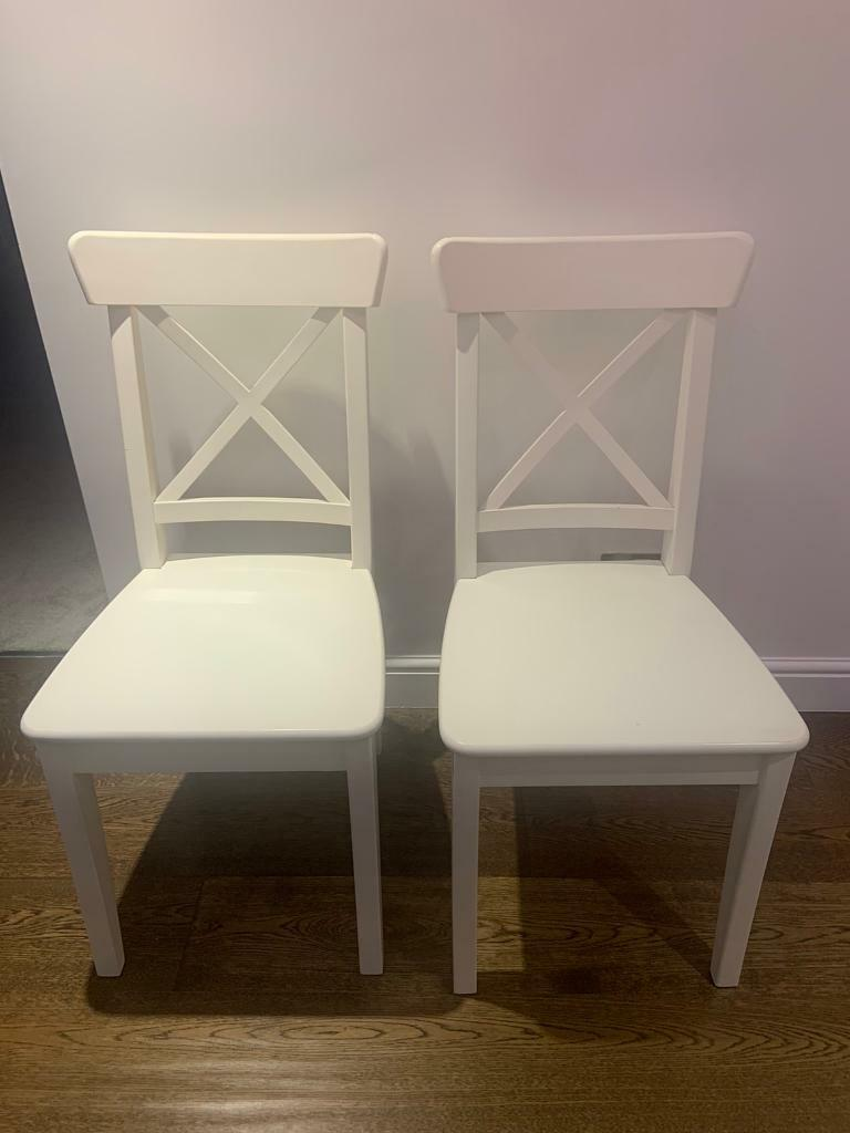 2 White Ikea Dining Table Chairs In Fareham Hampshire Gumtree