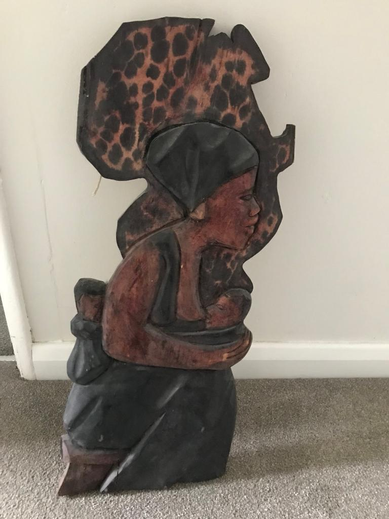Wooden African lady wall mount