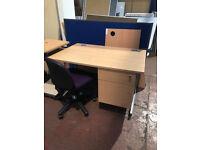 1200MM Straight Desk & Intergrated Draw Unit - Beech