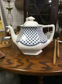 Vintage Adams Brentwood English Ironstone Teapot Blue and White