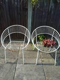 Retro Vintage metal garden chairs pair